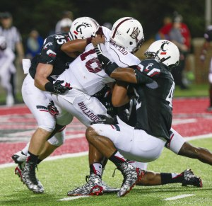 Bryce Jenkinson (#45) led the Bearcats with 5 tackles vs. Alabama A&M